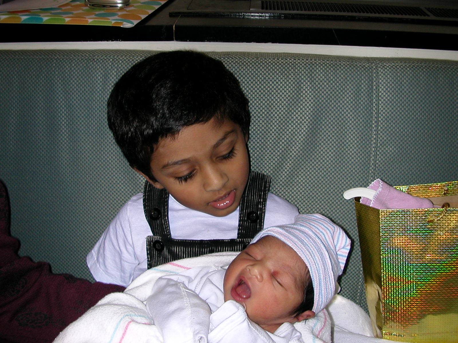 Older brother carefully holding his sister